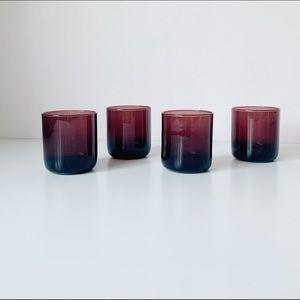 set of 4 deep plum round bottom glass cups